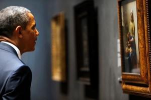 Obama bekijkt schilderij Het Melkmeisje