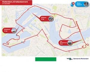 Route van 21 kilometer in Rotterdam