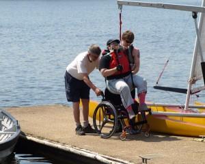 zeilen in een rolstoel