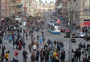 drukte in Amsterdam