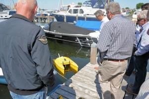 praktische demonstratie dieptemeting in een jachthaven