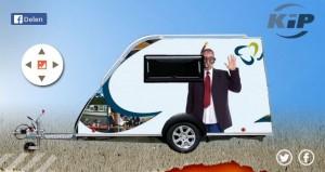 Een Kip caravan in Pretwerk-design. Flexibele bedrukking mogelijk.