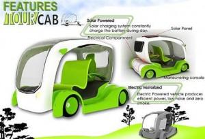 Een voorbeeld van een electrische auto vor toeristen. (Bron: Gajitz.com - Openly Green: All-Electric Taxi Concept Driven by Joysticks)